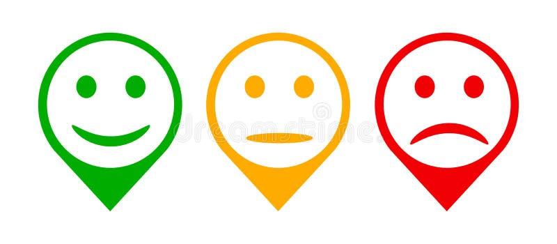 Trzy barwionego emoticons, kreskówek emoticons - wektor ilustracji