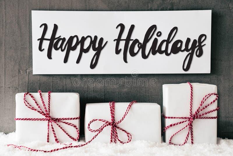 Trzy Białego prezenta, znak, kaligrafia Szczęśliwi wakacje, śnieg fotografia stock