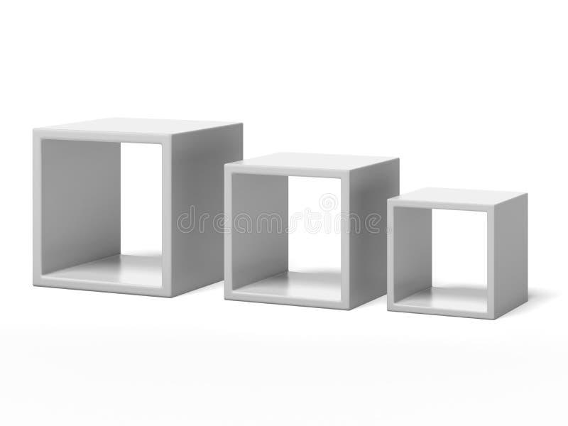 Trzy białego pudełka półki ilustracji