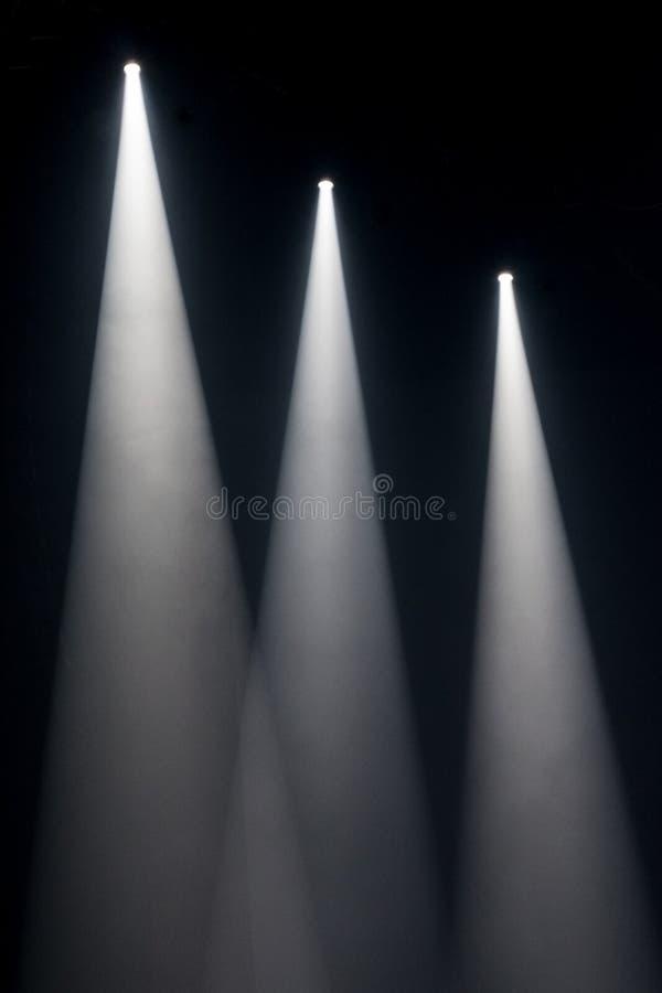 Trzy białego punktu światła na scenie zdjęcie stock