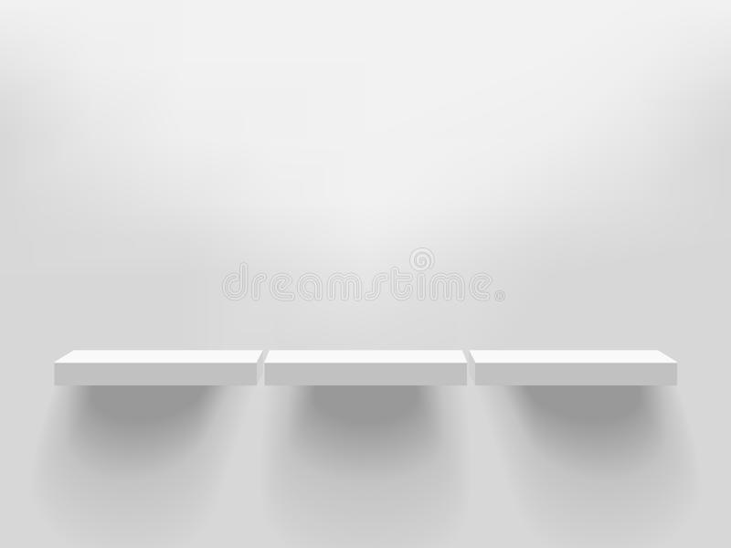 Trzy białej realistycznej wektor półki dołączającej ściana Adver ilustracji
