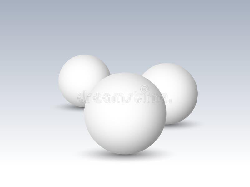 Trzy białych sfery, piłki lub okręgu, 3D wektorowi przedmioty z opuszczającym cieniem na szarym tle ilustracja wektor