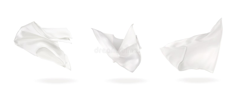 Trzy biel latająca pielucha ilustracja wektor