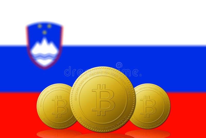 Trzy Bitcoins cryptocurrency z Slovenia flaga na tle royalty ilustracja