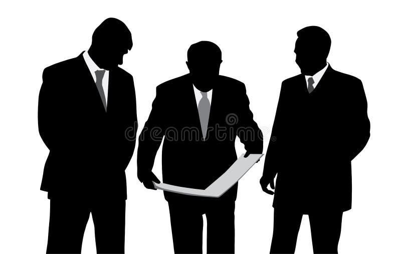 Trzy biznesmenów architektów lub inżynierów patrzeć royalty ilustracja