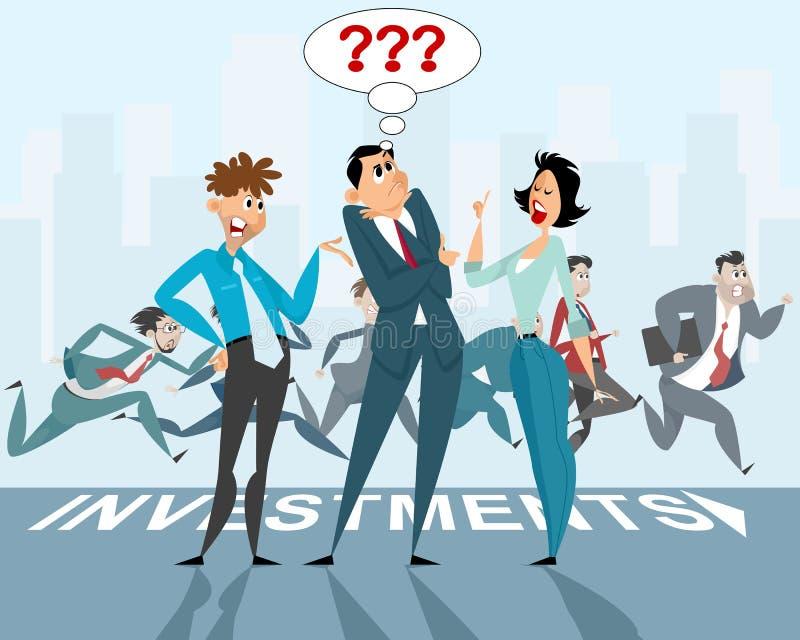 Trzy biznesmenów dyskusja ilustracji