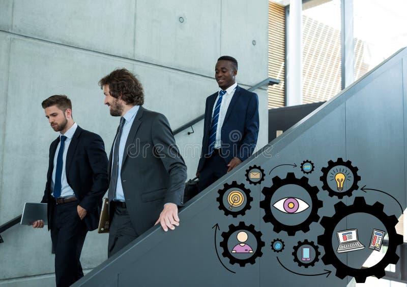 Trzy biznesowego mężczyzna chodzi w dół schodki i czarne przekładni grafika obraz stock