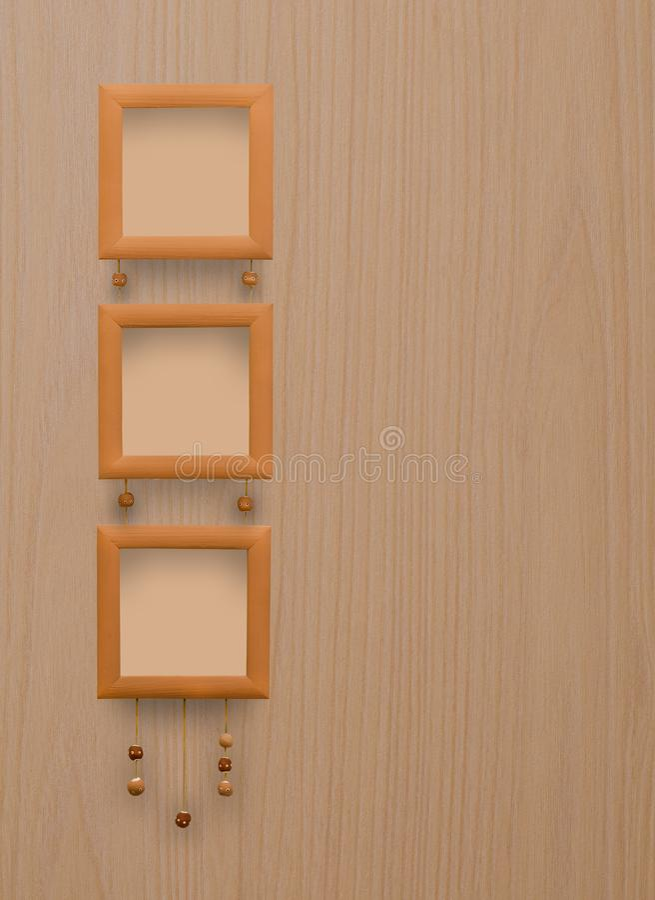 Trzy brązu fotografii mała rama Drewniana tekstura zdjęcia stock