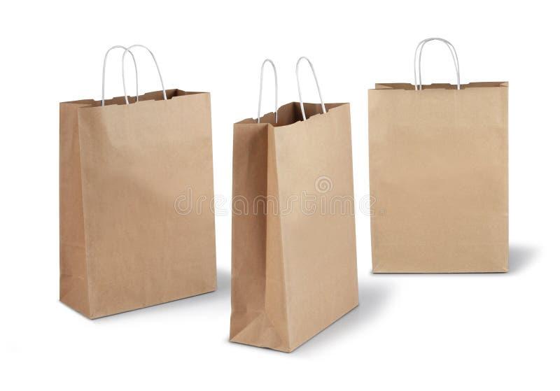 Trzy brown papierowej torby obraz royalty free
