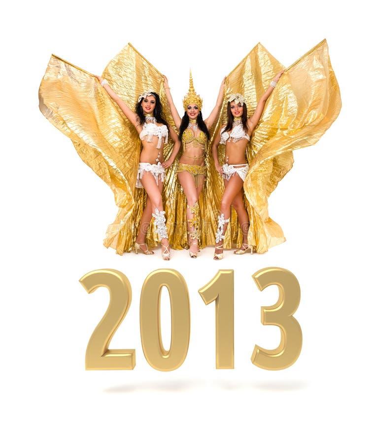 Trzy brzucha tancerza z 2013 Nowy Rok złota znakiem royalty ilustracja