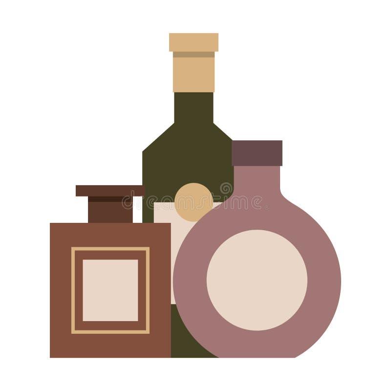 Trzy butelkują napoju trunek odizolowywającego projekt ilustracji