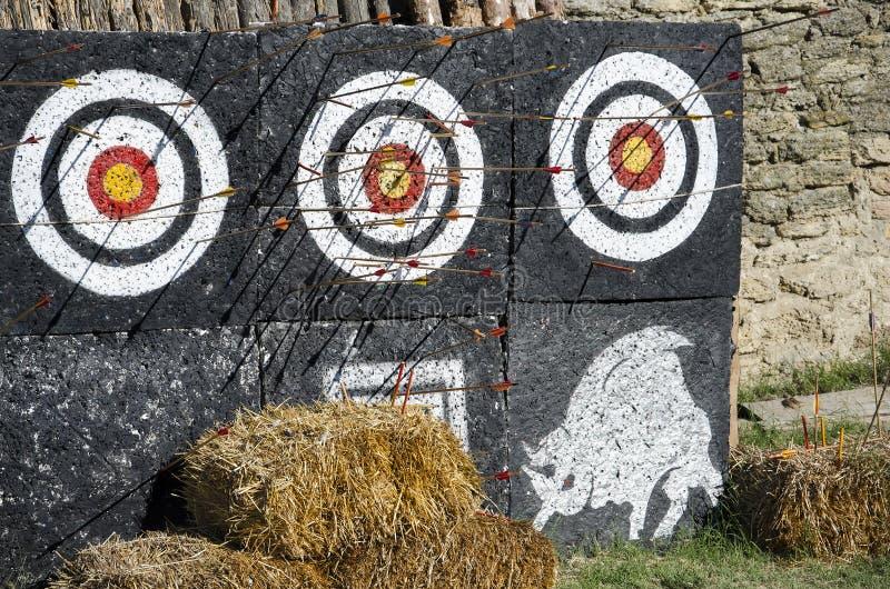 Trzy celu z strzałami w jardzie outdoors zdjęcie royalty free