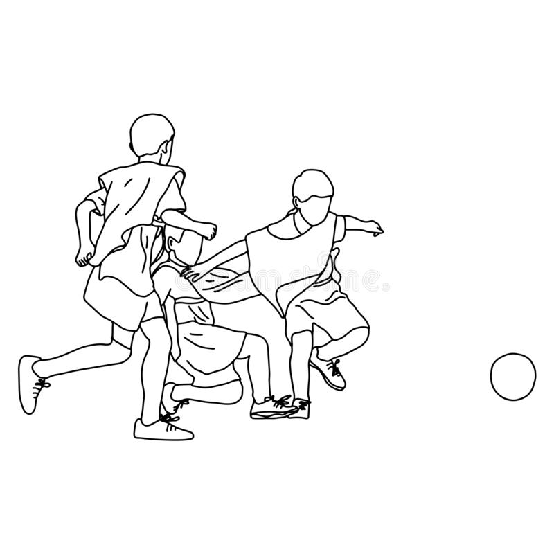 Trzy chłopiec walczy piłki nożnej nakreślenia doodle wektorową ilustracyjną rękę rysującą z czerni liniami odizolowywać na białym royalty ilustracja