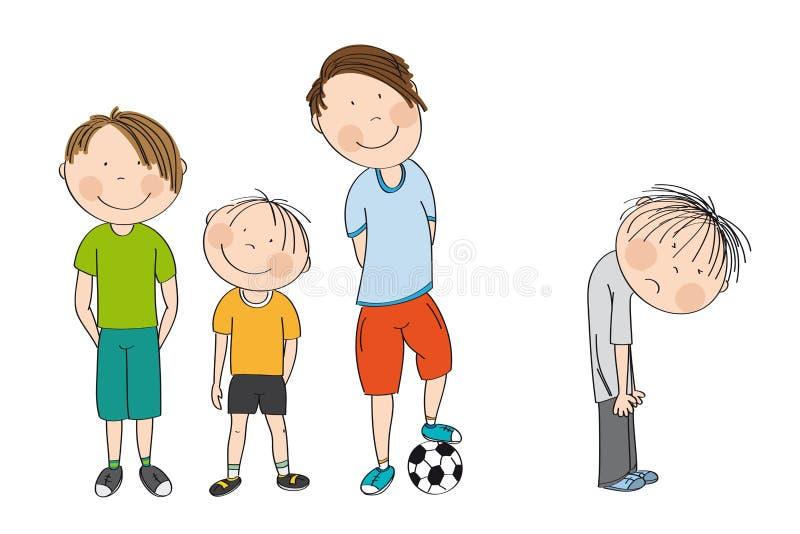 Trzy chłopiec z piłką, gotową bawić się futbol, piłkę nożną/chłopiec patrzeje nieszczęśliwi fourth stoją z jego plecy zginającego royalty ilustracja