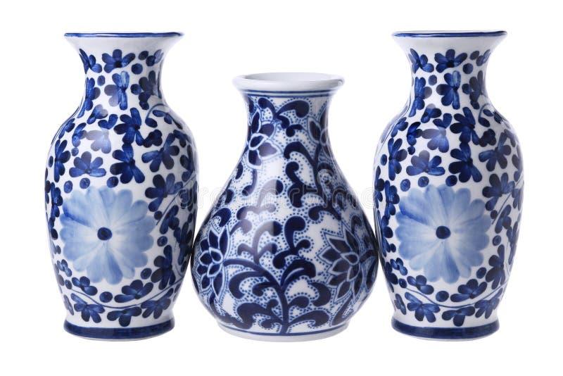 Trzy Chińskiej Kwiecistej wazy zdjęcie stock