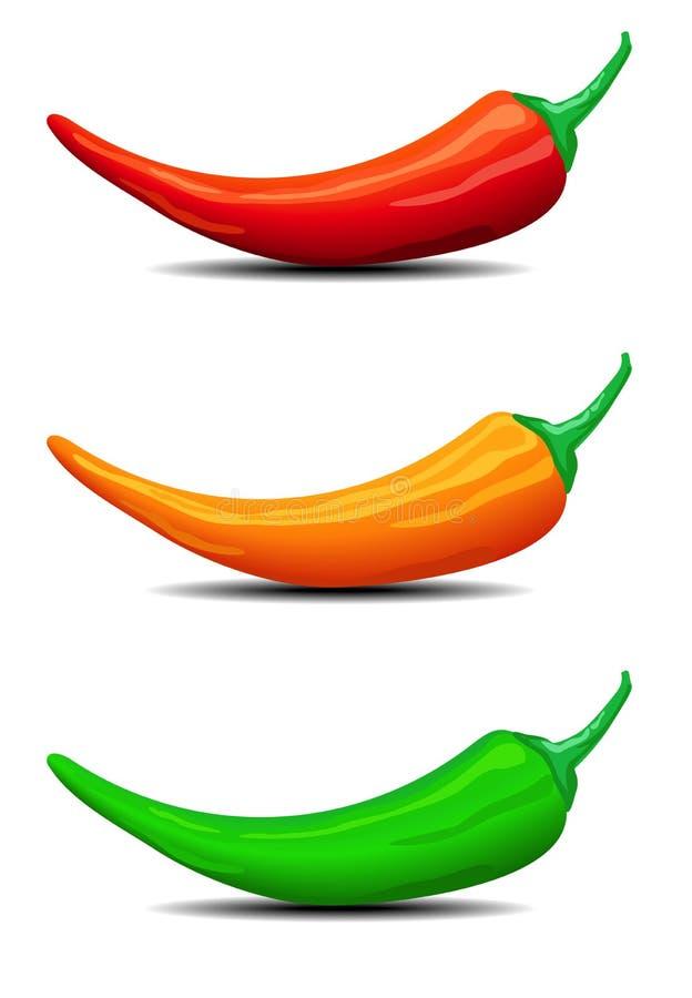 Trzy Chillies, pieprze, ilustracja ilustracja wektor
