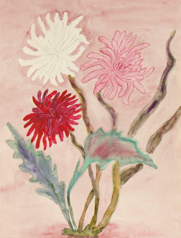Trzy chryzantema, watercolours royalty ilustracja