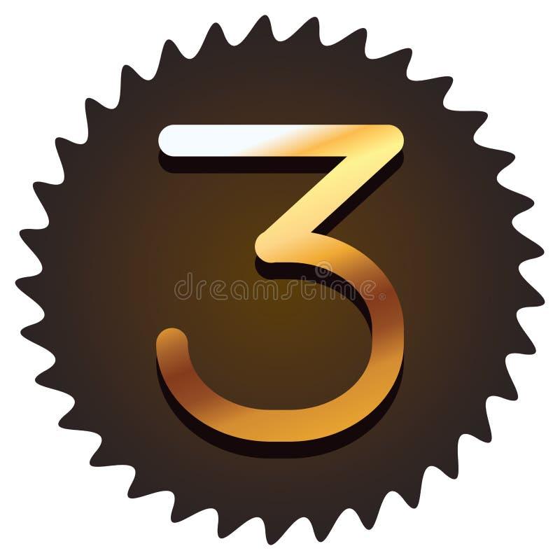 Trzy chrzcielnicy liczby ilustracji