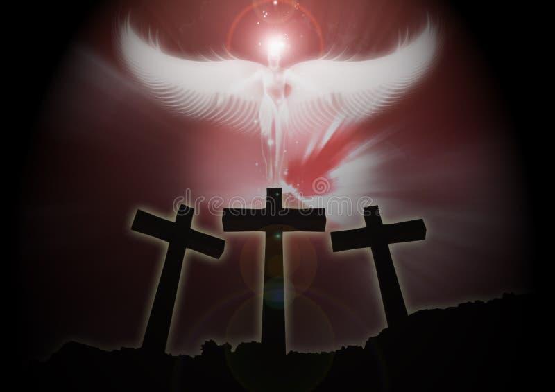 Trzy chrześcijańskiego krzyża, anioła powstający ciemny tło obrazy stock