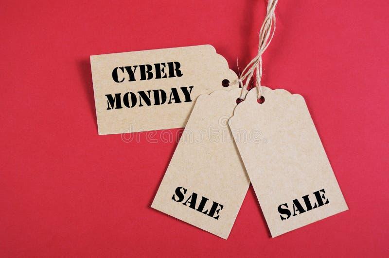 Trzy Cyber Poniedziałku sprzedaży etykietki zdjęcia royalty free