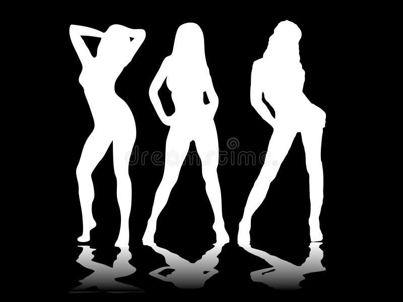 trzy czarne sexy ilustracji