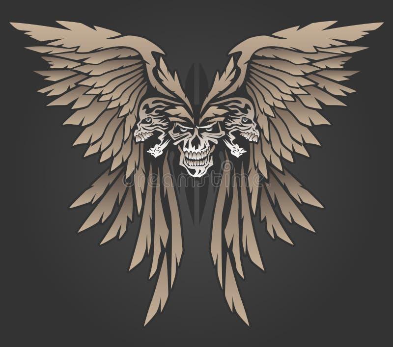 Trzy czaszki z skrzydło wektoru ilustracją royalty ilustracja