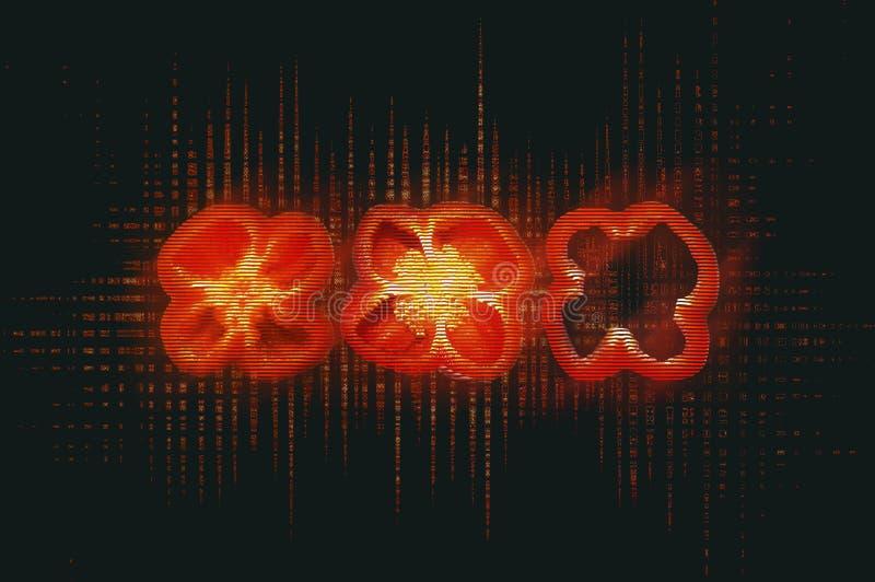 Trzy czerwień cutted pieprzu z usterka skutkiem ilustracja wektor