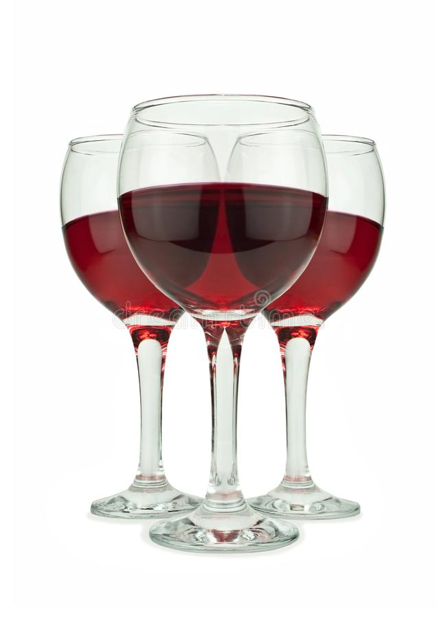 trzy czerwone wino szkła obraz royalty free