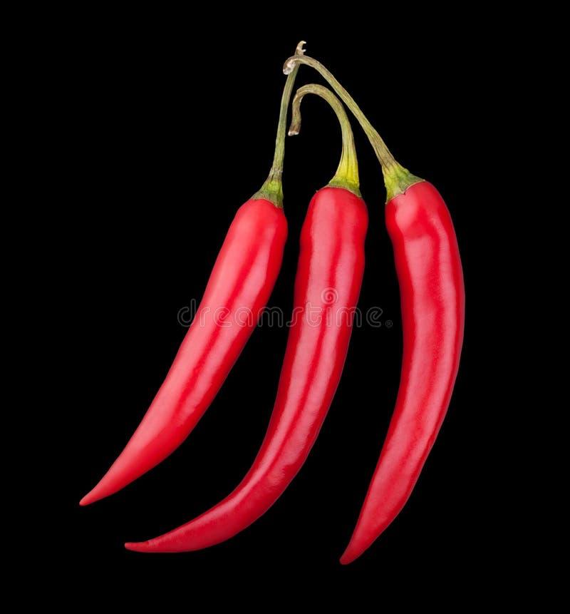 Trzy czerwonego chili pieprzu na czarnym tle fotografia stock
