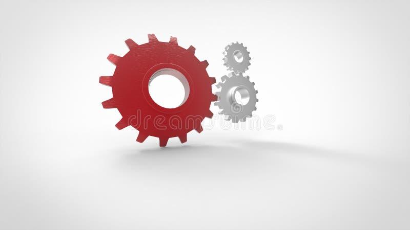 Trzy 3D cogs czerwony duży cog na białym tle ilustracja wektor