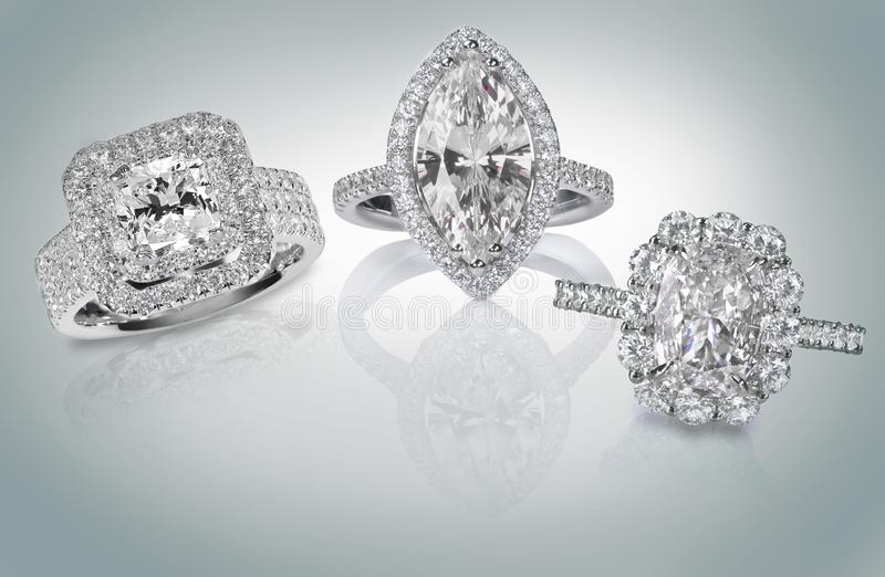 Trzy diamentowego pierścionku obrazy stock