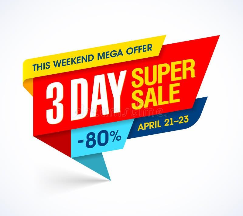 Trzy dni sprzedaży specjalnej oferty super sztandar royalty ilustracja