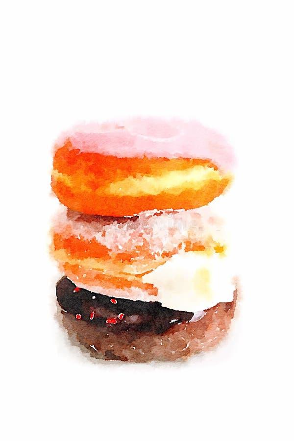 Trzy donuts na Białym tle ilustracja wektor