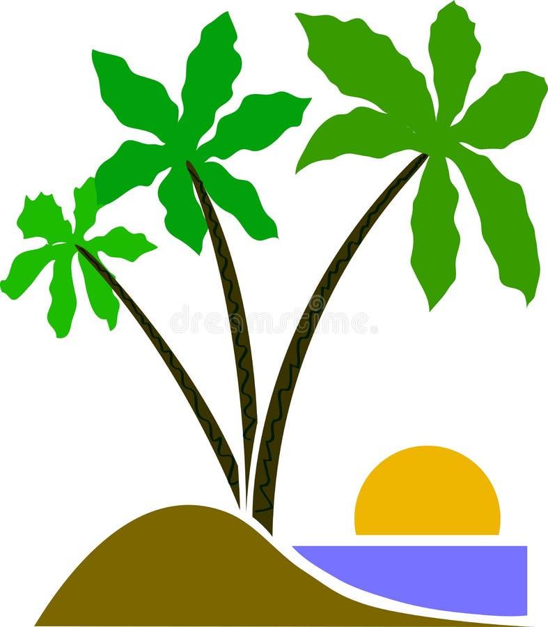 Trzy drzewek palmowych kreskówki eps wektorowy emblemat ilustracji