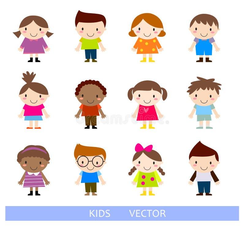 Trzy dzieci, obraz, deskorolka chłopiec i dziewczyny bawić się skrzypce, ilustracja wektor