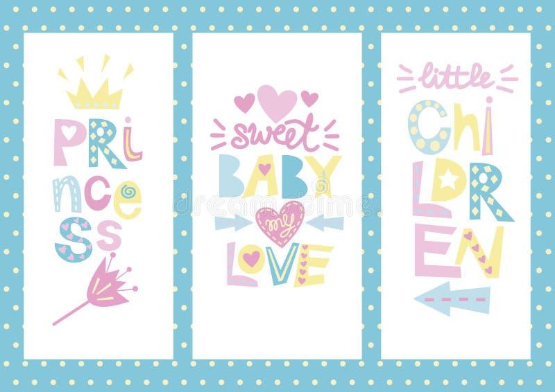 Trzy dzieci s układ z etykietkami Princess, dziecko, miłość, dzieci royalty ilustracja