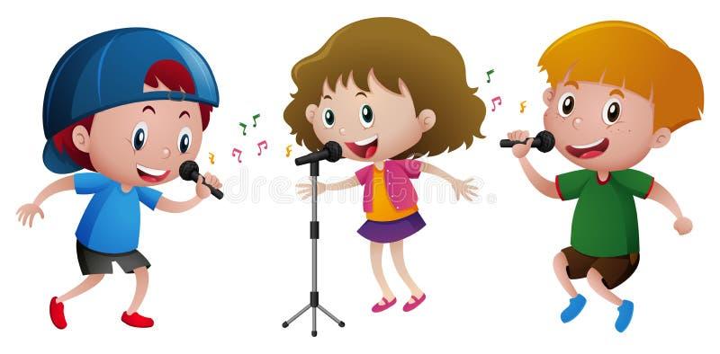 Trzy dzieciaka śpiewa na mikrofonie royalty ilustracja