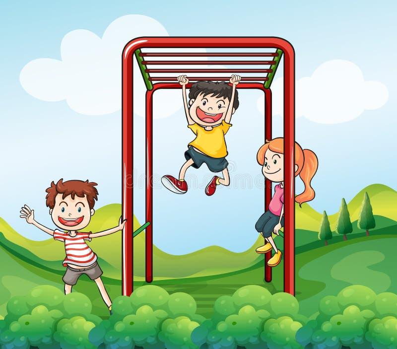 Trzy dzieciaka bawić się przy parkiem royalty ilustracja