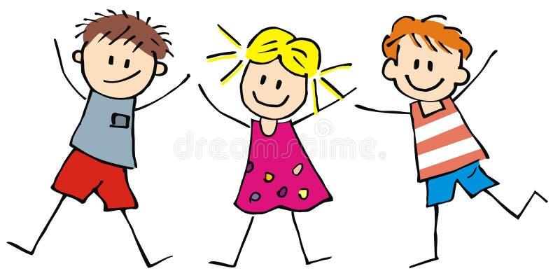 Trzy dzieciaki, chłopiec i dziewczyny szczęśliwych, śmieszna wektorowa ilustracja ilustracja wektor