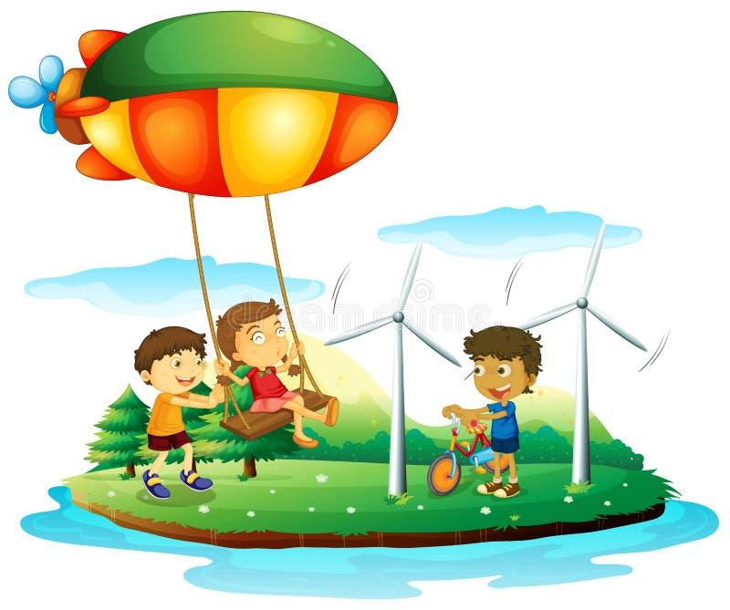 Trzy dziecka bawić się przy parkiem ilustracji
