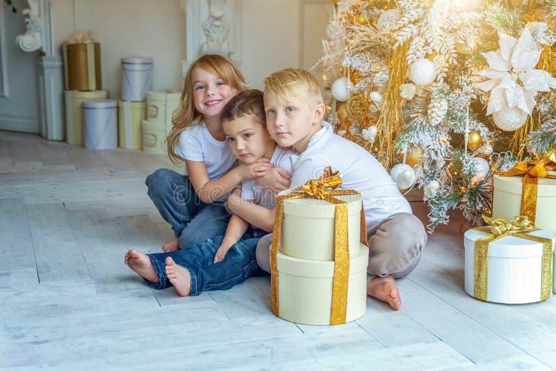 Trzy dziecka zbliżają choinki w domu obrazy stock