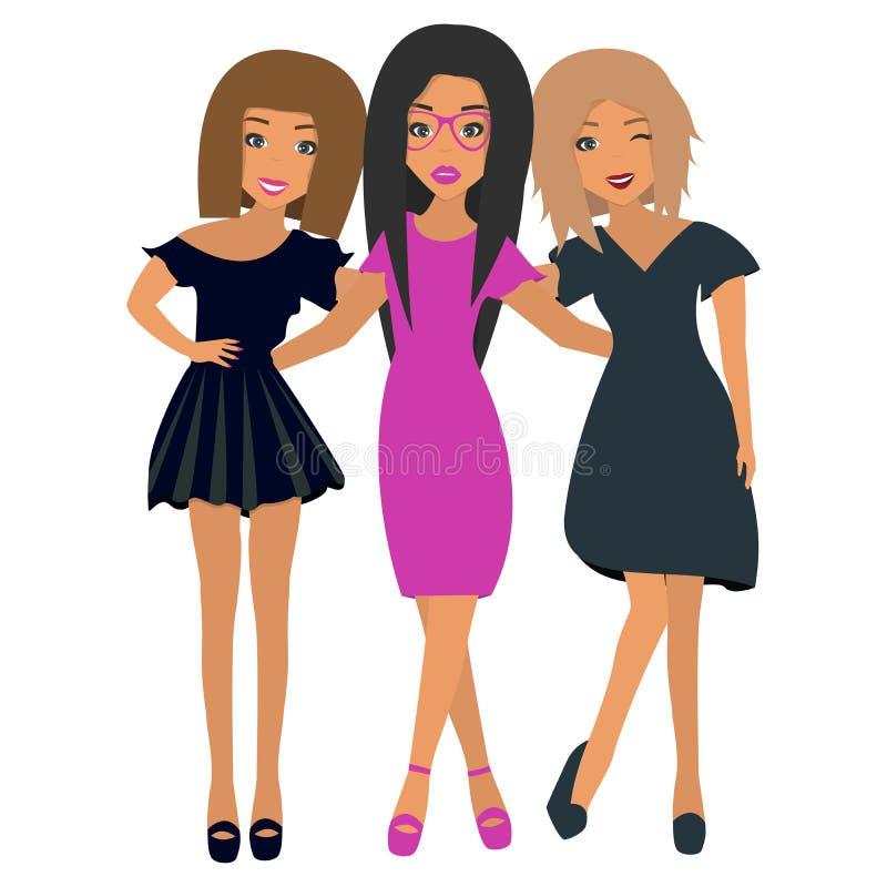 Trzy dziewczyn młody piękny stojak wpólnie szczęśliwa dzień przyjaźń Wektorowa ilustracja w płaskim stylu ilustracji