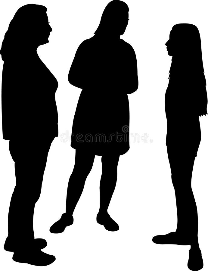 Trzy dziewczyny robi gadce, sylwetka wektor royalty ilustracja