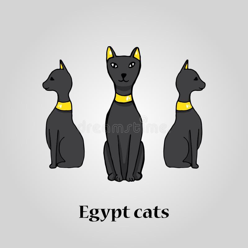 Trzy Egypt czarnego kota ilustracji