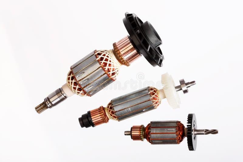 Trzy elektrycznego silnika rotoru odizolowywali białego tło obraz stock