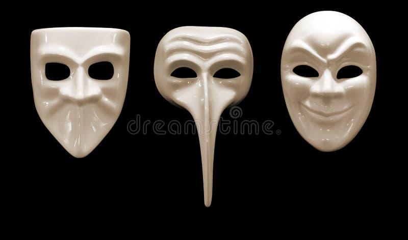 Trzy Emocjonalna Maska Robić Porcelana Zdjęcia Stock