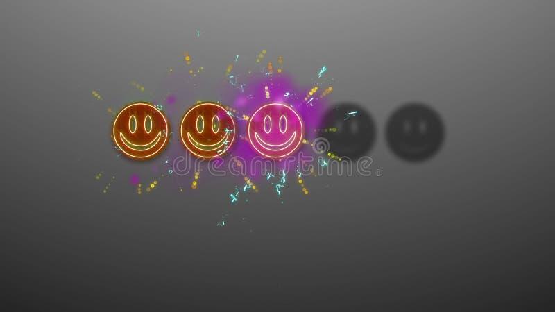 Trzy Emoticons Oszacowywa wizerunek ilustracji