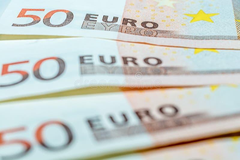 Trzy 50 Euro rachunku jako symbol finanse zdjęcie royalty free