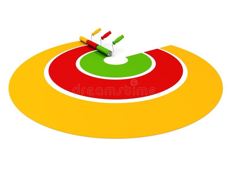 Trzy farba rolowników remisu palety kolorowej linii ilustracji