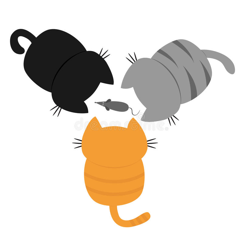 Trzy figlarki patrzeje myszy Plecy i ogon Odgórny widok z lotu ptaka tła kota projekta ilustracyjny setu wektoru biel Śmieszna ka ilustracji